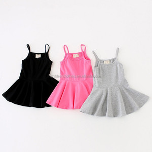 Plain cotton dress one piece girls party net dresses