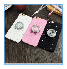 Hot selling Diamond Watch Bracket Cell Phone Case Diamond Drop Resistance Cell Phone Case Sleeve For iphone 5/5s/6s/6p