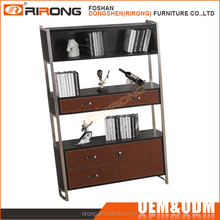 Latest design luxury office cabinet modern wooden storage cabinet bookcase with ladder