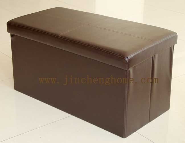 Set 2 Faux leather rectangular folding storage stool