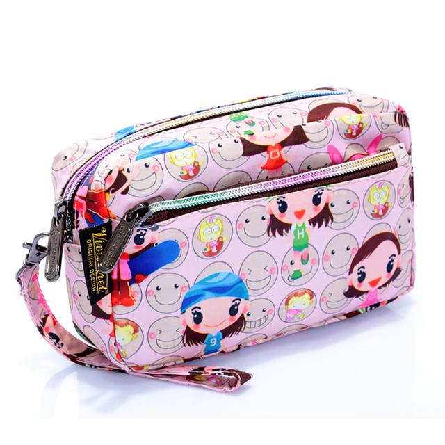 With handle 2018 New design fancy cosmetic bag coin case brand girls purse printing women travel case