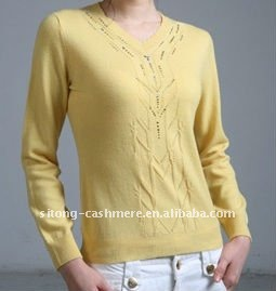 JERSEY WITH POINTELLE CASHMERE SWEATER