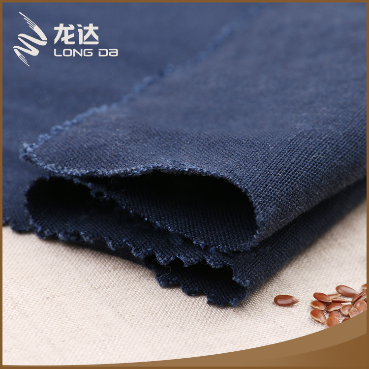 Longda Good quality free sample removing mites linen viscose solid navy fabric