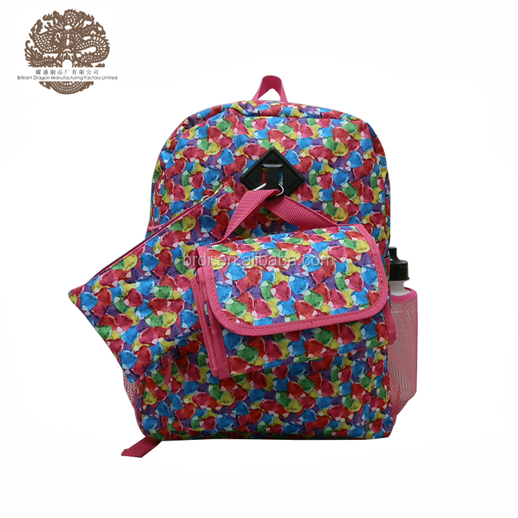 Most Popular Allover Printed Funky Girls School Backpack with Lunch bag and Pencil case