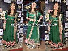 Green Bollywood Chifffon Silk Unstitched Salwar Kameez