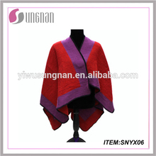 acrylic knitted poncho shawl for ladies