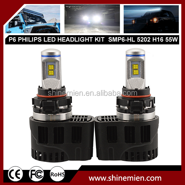 Car LED Headlight 5202 H16 Philip 55W 5200LM Head Fog DRL Conversion Replacement Light P6 LED Headlight