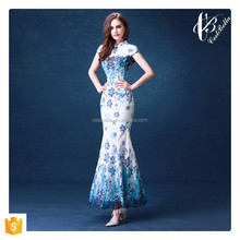 Hot Wholesale Chinese Qipao Style Slim Fashion Women Evening Wear Long Blue Mermaid Evening Dress