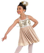 2016 - children plain gold beautiful white middle soft cheap dress