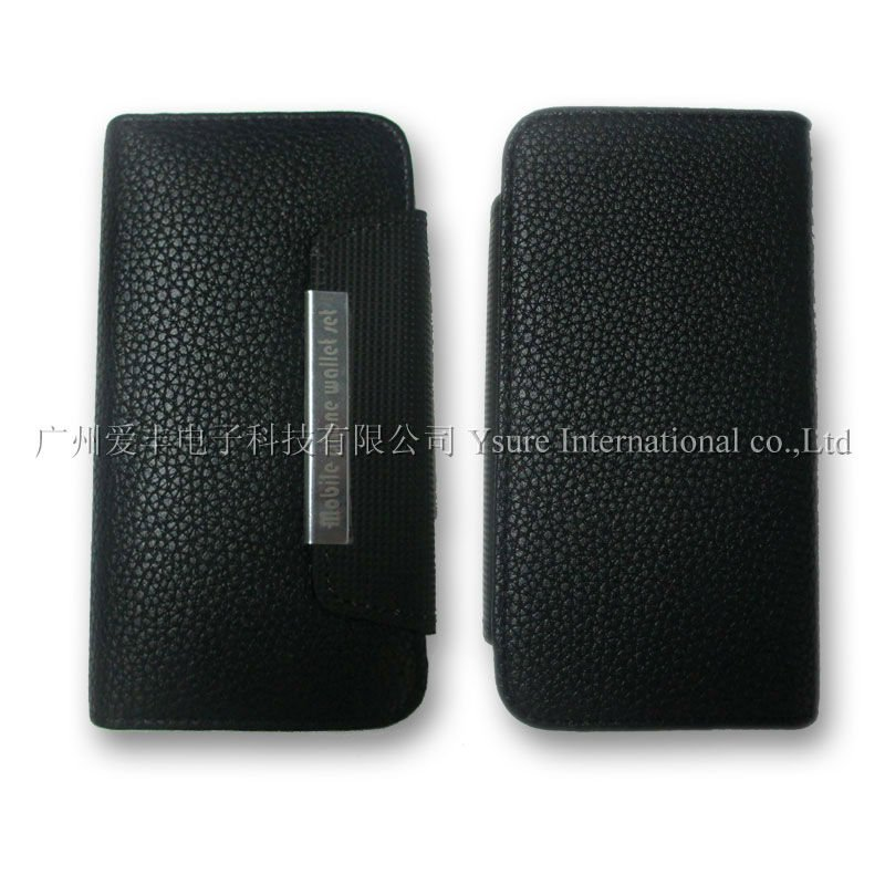 Metal Magnet leather case for Iphone4 with two card pocket