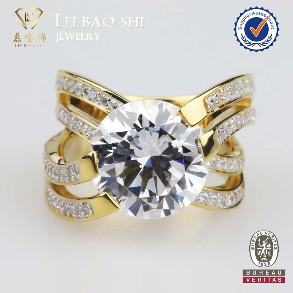Wholesale Fashion Cool Design 14K Gold Plated Sterling Silver CZ Ring