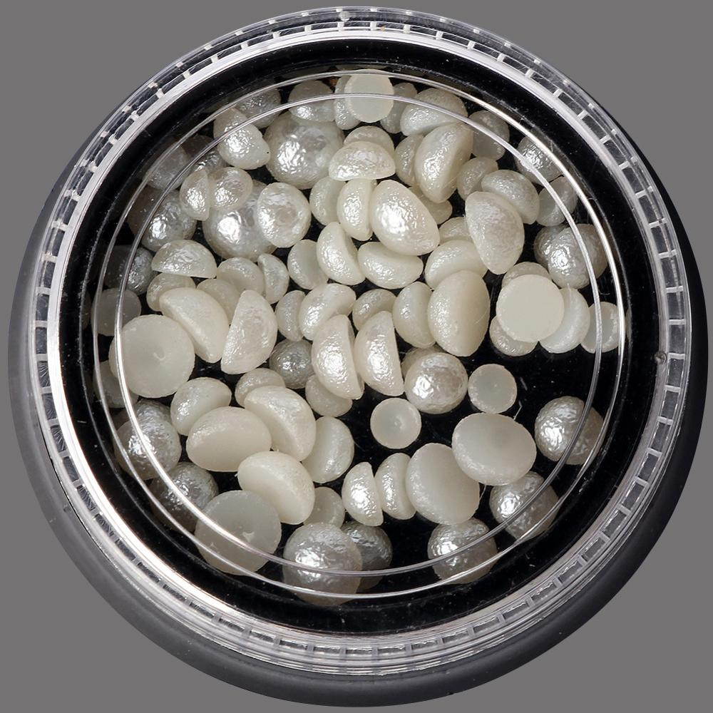 Hot sale japanese nail art supplies white creamy-white semi-circle pearl decorations 3/4/5mm mixture in a box