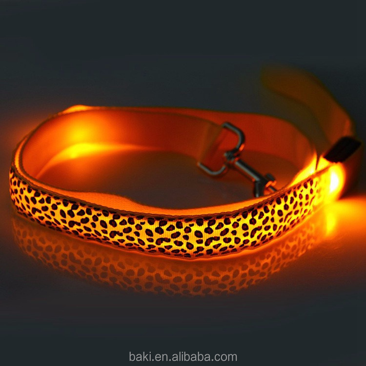 LED Pet Leashes Glowing Leopard Print Design Puppy Traction Belt LED Dog Collar LED Leash