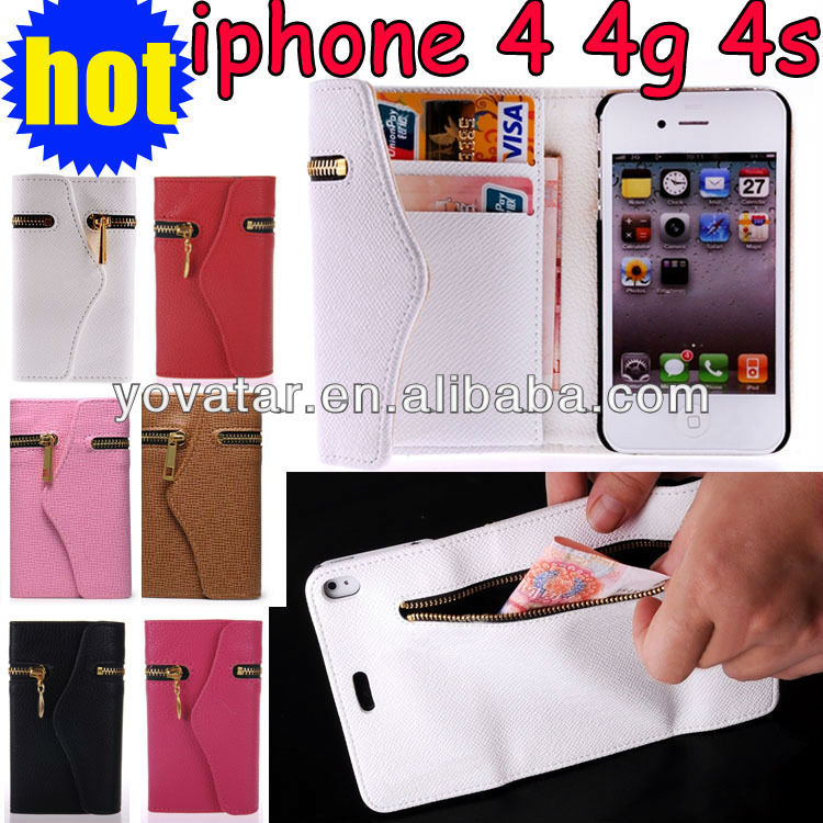 Leather Zipper Wallet Card Holder Flip Smart Case Cover for iPhone 4 4S 4G