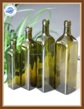 hot sale various capacity square shape dark green olive oil cooking oil glass bottle