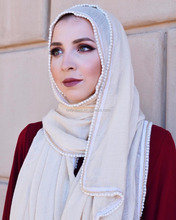 Chain Edges Long Plain Women Scarves muslim Pearl Cotton Hijab Scarf Solid Color Wraps Oversized Islamic Neck Shawl QK025a