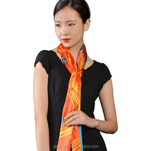 Long Style of Length and Printed Pattern oblong silk scarf