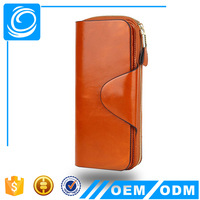RFID Blocking Ladies Wallets Online Large Capacity Wax Real Leather Clutch Checkbook Wallet Card Holder Purse for Women