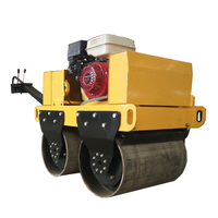 Walking type hydraulic vibration double drum road roller