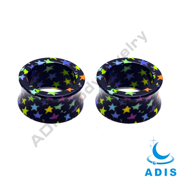 Acrylic Printed Star Body Piercing Double Flare Ear Plug Tunnel Flared Tunnel Earlet