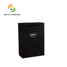Wholesale High Quality gift packing black craft paper bag with company logo for promotion