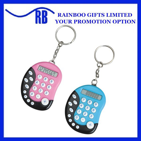 Foot shape plastic logo printed mini calculator with keychain