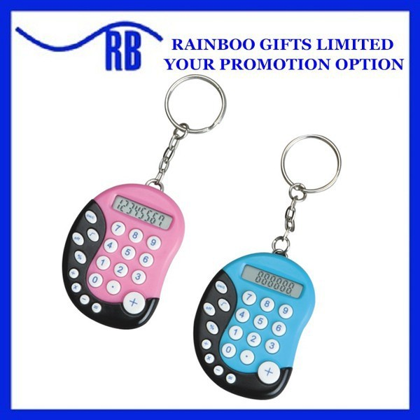 Foot shape plastic logo printed mini calculator with keychain