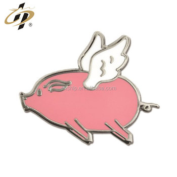 Promotional alloy stamp Flying Pig Lapel Pin with hard enamel