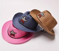 Summer Casual Cool Baby Kids Boy Girl Straw Braid Cowboy Sun Hat Star Cap sand beach hats