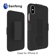 For iPhone Outdoor Phone Accessories Wholesale Super Slim Shell Case For iPhone X with Kickstand and Swivel Belt Clip Holster