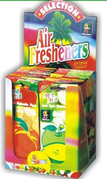 2015 fruits paper car air fresher /freshener/freshner with box