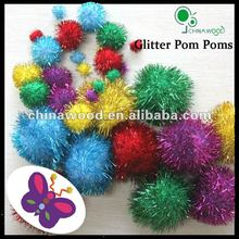 Sparkle,Tinsel and Glitter Pom Poms for Educationl Kit for kids crafts