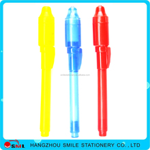 Custom logo Free Sample invisible ink pen with uv light with led light