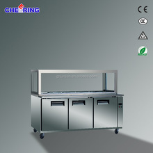 2 door refrigerated Pizza showcase, pizza displayer chiller