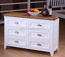 Wooden furniture solid oak white wide 6 drawer chest