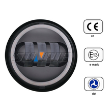 Round High Low Beam 4.5 inch Led Motorcycle Fog Light for Harley with White Angle Eye
