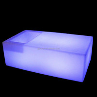 Led furniture glowing long square bar table with wine container waterproof and fireproof plastic table