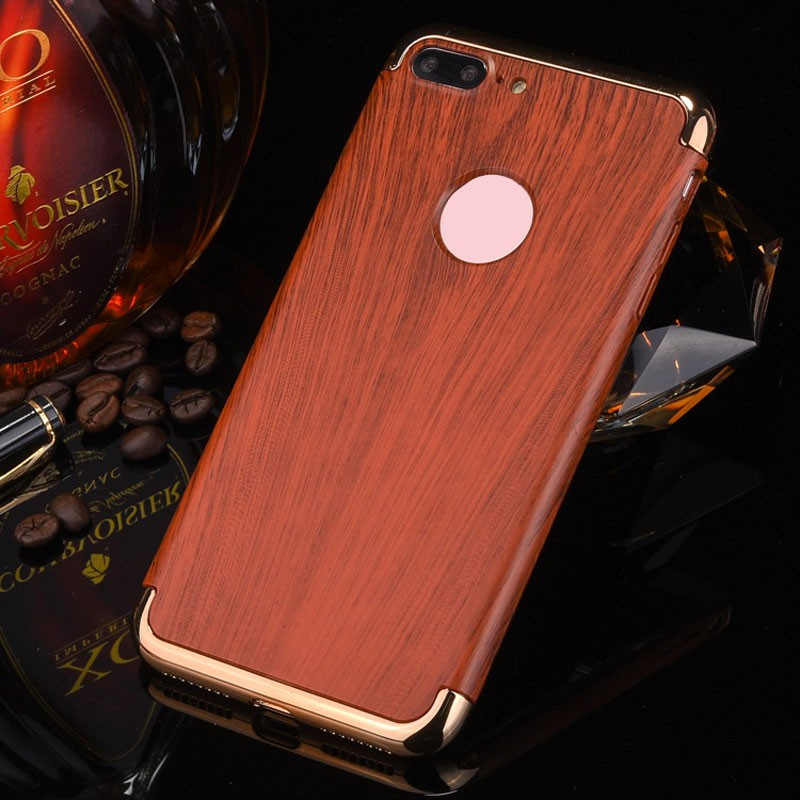For iPhone 7 case wooden pattern 3 in 1 plastic frame PU leather back cover cell phone case for iphone 7 plus for iphone 7 shell