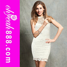 White lace sleeveless high neck womem club wear