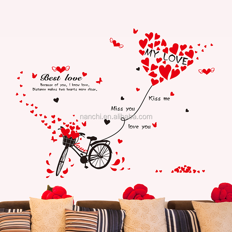 Bicycle love kiss miss best love red wall stickers entrance door wedding room wall decor hot selling decorative gift for lovers