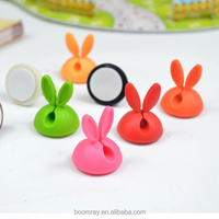 colorful rabbit style USB and power cable drop holder clip cable clip fish