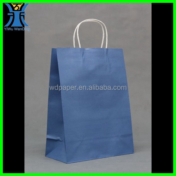 Yiwu New Arrived plain handmade full Printing Blue Blank Craft paper Solid color paper bag