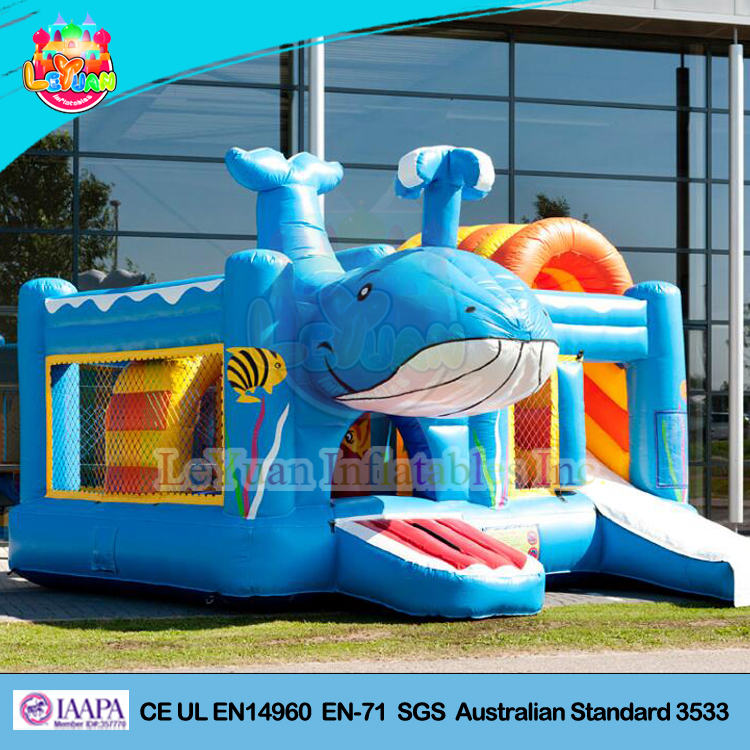 Giant inflatable blue whale bouncy castle
