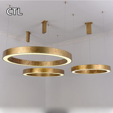 Circular dining room chandeliers hanging lamps round modern led pendant light gold