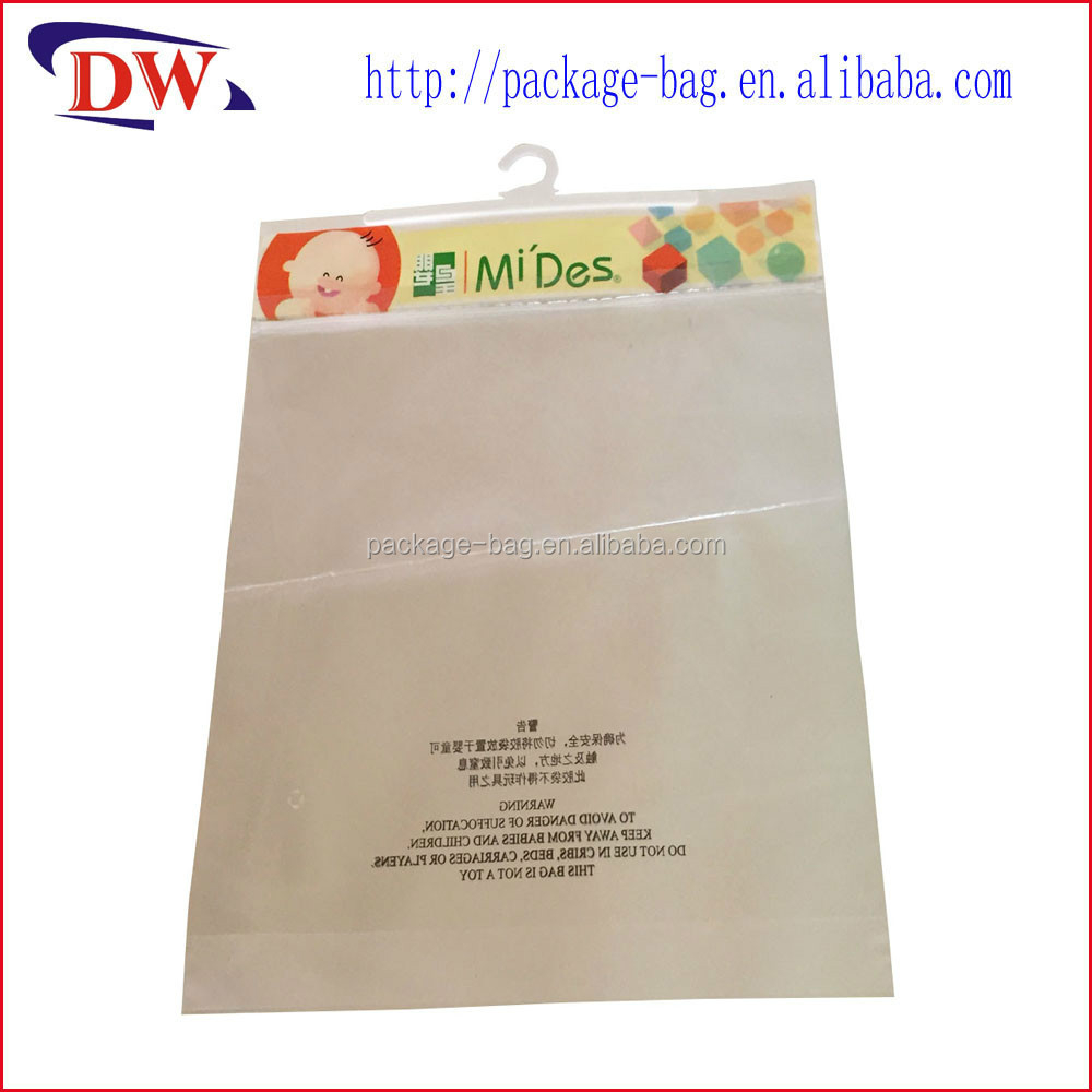 ziplock plastic cloth vacuum cleaner bag with hook
