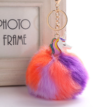 Hottest colorful pom key chain handmade woolen fashion design pom phone accessories key ring