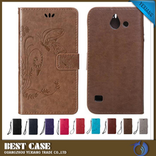 Trend style fashional Emcoss Genuine leather flip case for huawei ascend y550