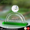 Factory price cheap crystal trophy, semicircle crystal awards with blue stand