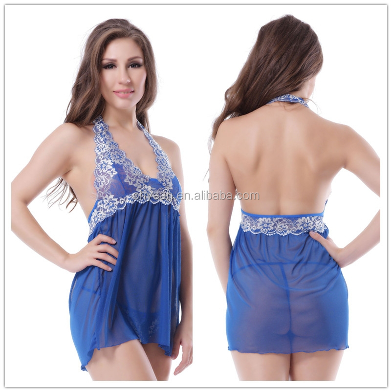 Hot wholesale halter neck blue babydoll nighty dress transparent sexy lingerie