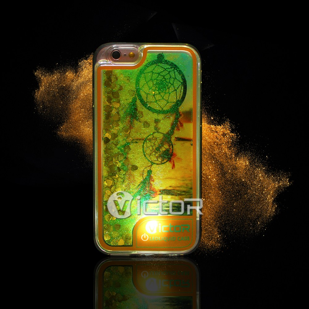 New product custom LED flash light up quicksand liquid glitter cell phone case for iPhone 7